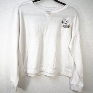 Snoopy & Woodstock White Cropped Sweater Size L